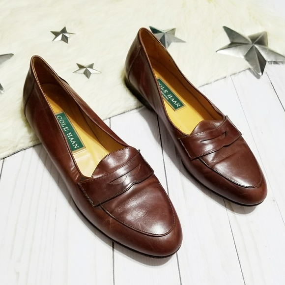 Cole Haan Penny Loafers Brown Leather